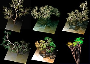 Fractal-generating software - Various tree rendered with an L-system