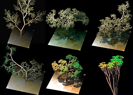 One example of procedural generation, here used to generate realistic looking tree models. Different models can be generated by changing both deterministic parameters and a random seed. Dragon trees.jpg