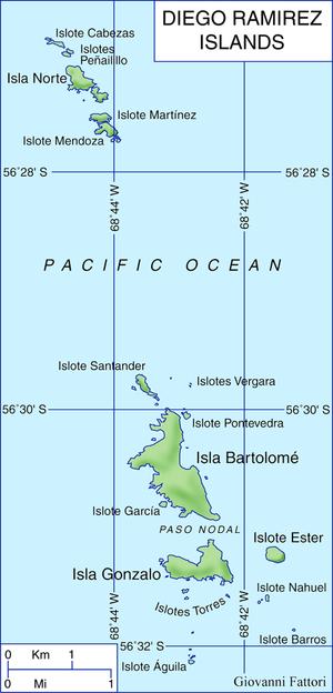 Garcia de Nodal expedition - Map of Diego Ramirez Islands