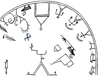 Horagalles - The two hammers of the thunder god depicted as a blue cross on a late 18th-century shaman drum from Porsanger, Western Finnmark, Norway, described by the Christian missionary Knud Leem.