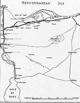 Battle of Magdhaba - Sinai Peninsula from the Suez Canal to El Arish shows the positions of Dueidar, Kantara, Salmana, Bir el Mazar and El Arish as well as Romani, Katia, Bir el Abd, Maghara Hills and Nekhl