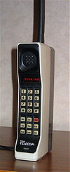 A Motorola DynaTAC 8000X mobile phone from 1984.