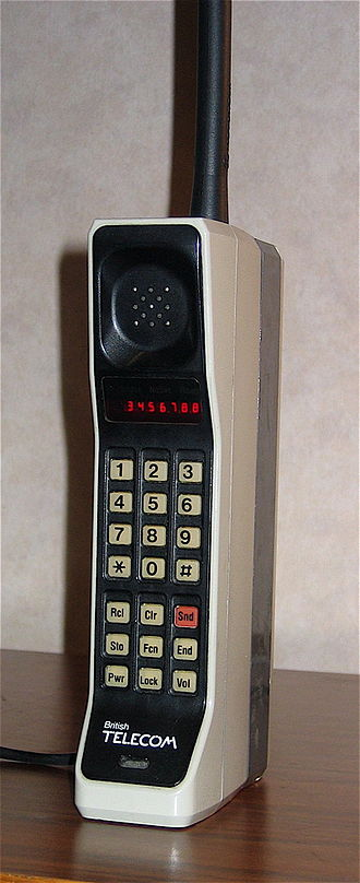 Mobile phone - The Motorola DynaTAC 8000X. First commercially available handheld cellular mobile phone, 1984.