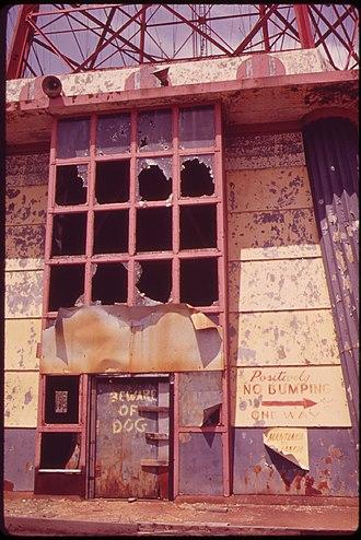 Parachute Jump - Entrance to abandoned Parachute Jump, 1973.  Photo by Arthur Tress.