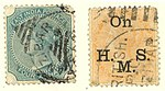 East India postage Queen Victoria stamps used in Zanzibar - Two and four annas, 1874-78.jpg