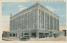 An illustrated postcard of the East Side Masonic Temple in Toledo, Ohio, 1920