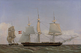 A Danish Corvette Laying t in order to Confer with a Danish Brig: The Scene Being Set in West Indian Waters