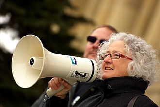 Linda Duncan - Linda Duncan at the Alberta Legislature participating in a rally organized by RETA against the Heartland Transmission project