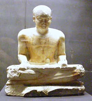 Imhotep Museum - Imhotep Museum, statue of a scribe, 5th Dynasty
