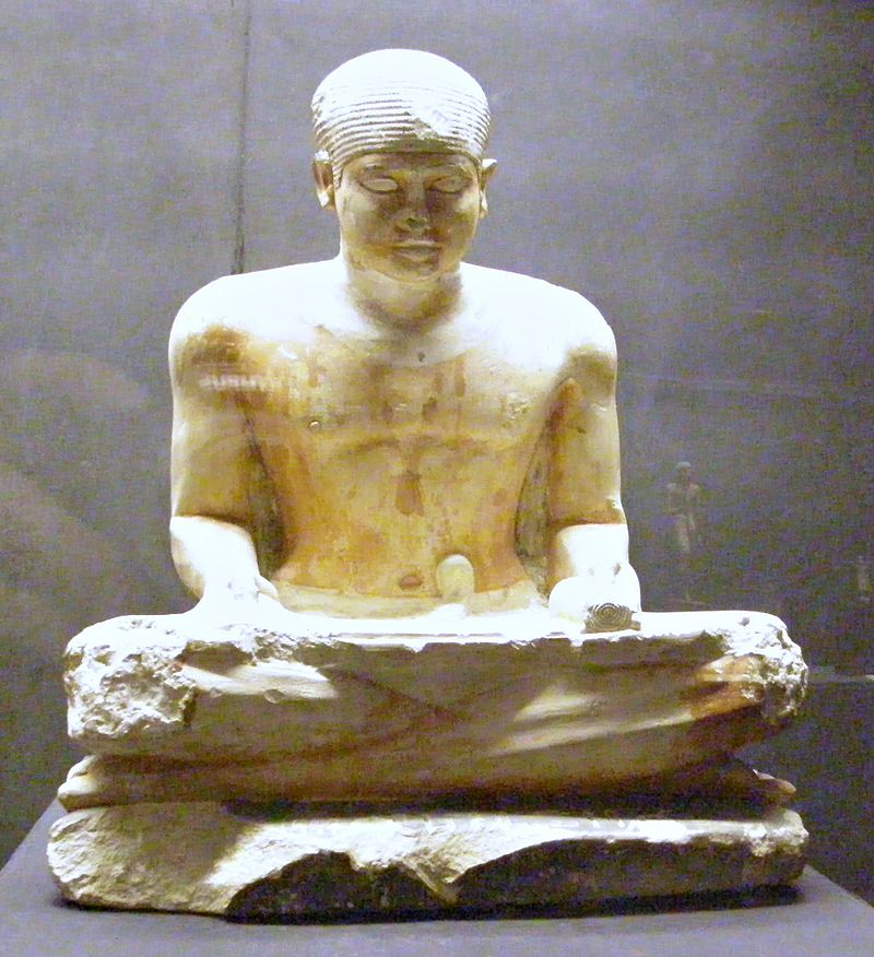 Imhotep Museum, statue of a scribe, 5th Dynasty 800px-Egypt_Sakkara_Museum_Statue_scribe_5th_Dynasty