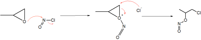 Electrophilic addition of NOCl to propylene oxide.png