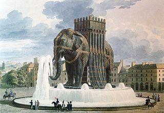 Éléphant de la Bastille -Aquarelle de Jean Alavoine (1776-1834)