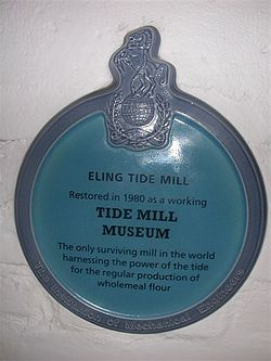 Photo of Eling Tide Mill blue plaque