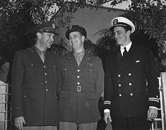 Franklin Delano Roosevelt Jr. - Elliot Roosevelt and FDR Jr., far right, in Casablanca