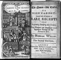 Engraved frontispiece showing 5 cooking scenes and title page of Hannah Wolley, The Queen-like Closet. 1672 LCCN2003674992.jpg