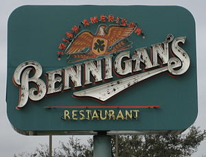 Bennigan's - Image: Entrance sign to a Bennigan's restaurant in Algiers, Louisiana