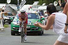 Photographie présentant Voeckler, meilleur grimpeur du Tour de France 2012.