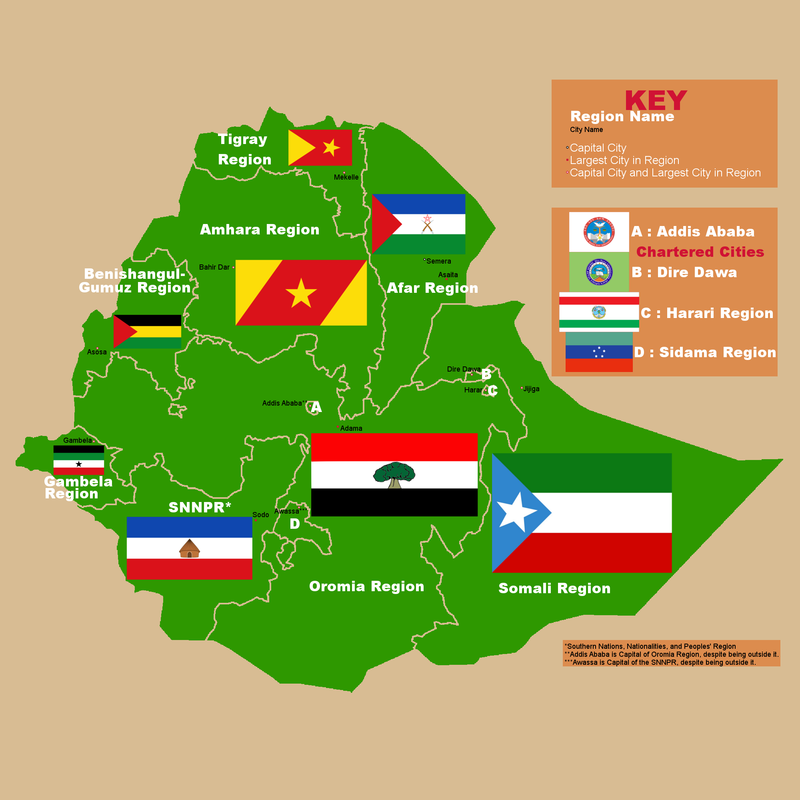 Ethiopian Region Map with Capitals and Flags.png