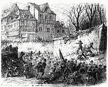 Gravurile care înfățișează revoluționarii care încearcă să intre în oraș, sunt respinși de tunul generalului Fleury-Duray, ale cărui trupe sunt adunate în rânduri strânse în fundal.
