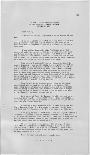 "Remarks from 1937 by FDR on ""natural capital"" and ""balancing the budget of our resources"" Extemporaneous remarks at Harve, Montana - NARA - 197750.tif"