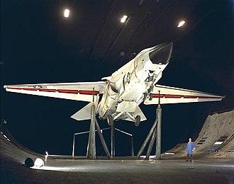 General Dynamics–Grumman F-111B - F-111B, BuNo 151974, at NAS Moffett Field, California during full-scale wind tunnel flight control tests
