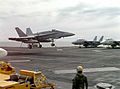 F-18A of VFA-305 landing on USS Abraham Lincoln (CVN-72) 1990.JPEG