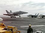 F-18A of VFA-305 landing on USS Abraham Lincoln (CVN-72) 1990.JPEG