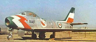 History of the Iranian Air Force - An F-86 Sabre from the Golden Crown aerobatic display team, of the Imperial Iranian Air Force.