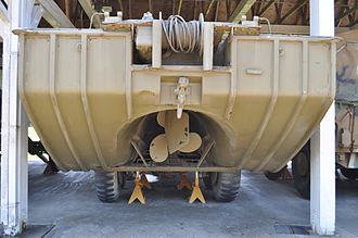 DUKW - Rear view of a DUKW preserved at the Fort Lewis Military Museum, Washington. The propeller tunnel, propeller, and rudder can be seen (2009)