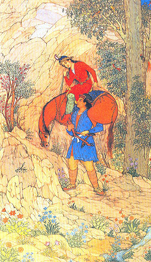 Hossein Behzad - 1951 miniature painting by master Behzad depicting the story of Farhad and Shirin.