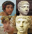 Faces in the Roses of Heliogabalus compared with busts of the emperor Heliogabalus.jpg