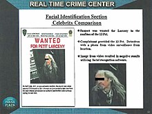 """wanted poster, with text """"Facial Identification Section Celebrity Comparison"""""""