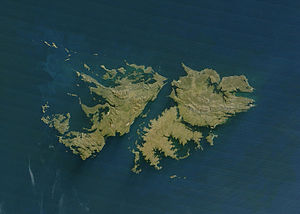 Outline of the Falkland Islands - An enlargeable satellite image of the Falkland Islands