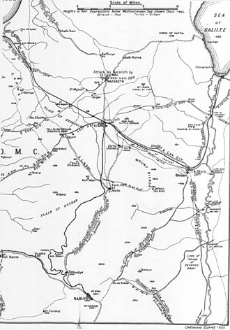 Battle of Samakh - Falls Map 21 Cavalry advances 19 to 25 September 1918. Detail shows 5th Cavalry Division advance to Nazareth, 4th Cavalry Division advance to Afulah and Beisan, Australian Mounted Division advance to Lajjun, 3rd Light Horse Brigade advance to Jenin, 19th Lancers advance to Jisr el Majami and 4th Light Horse Brigade advance to Samakh. Also shown are the three main lines of retreat bombed by aircraft and the retreat of the Seventh Ottoman Army and Asia Corps across the Jordan River.