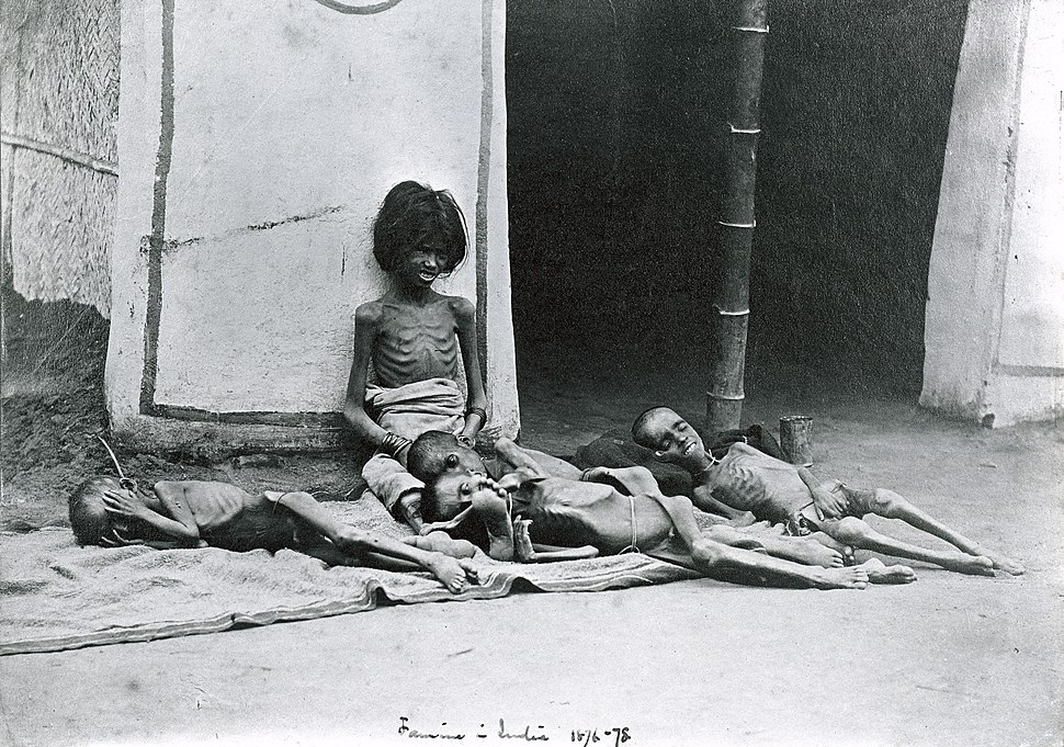 Famine in India; five emaciated children; a girl sitting and Wellcome L0002224