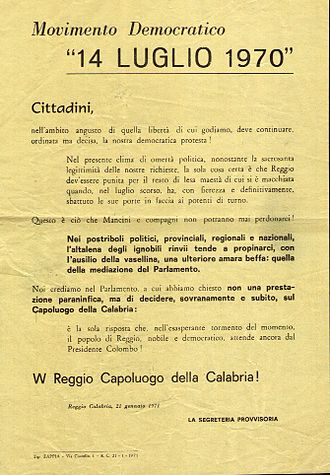 Reggio revolt - Manifest produced during the events