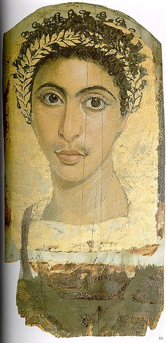 Fayum mummy portraits - The single specimen of Gayet's mummy portraits from Antinoopolis for which information on its archaeological context is available. The heavily gilt portrait was found in winter 1905/06 and sold to Berlin in 1907. Berlin, Egyptian Museum.