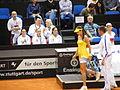 Fed Cup 2013 Germany vs Serbia - Side change Bartel vs Ivanovic and serbian box 02.jpg