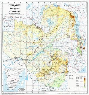 Federation of Rhodesia and Nyasaland - Image: Federation of Rhodesia and Nyasaland map 1960