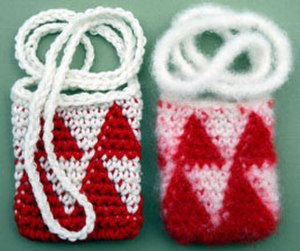 Tapestry crochet - Amulet bags before (on left) and after felting in a washing machine.