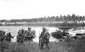 Soldiers walk through long grass. Other soldiers are arriving in landing craft in the lagoon behind them. In the background is a coconut plantation. The sky is overcast.