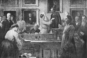 Linnean Society of London - The first admission of women as fellows of the society in 1905, Emma Louisa Turner is on the far left, Lilian J. Veley is shown signing the membership book, whilst Lady Crisp receives the 'hand of Fellowship' from the president, William Abbott Herdman - from a painting by James Sant (1820–1916)