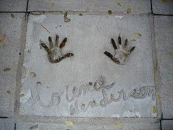 Henderson's handprints in front of Hollywood Hills Amphitheater at Walt Disney World's Disney's Hollywood Studios theme park