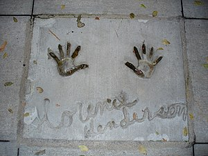 Florence Henderson - Henderson's handprints in front of Hollywood Hills Amphitheater at Walt Disney World's Disney's Hollywood Studios theme park