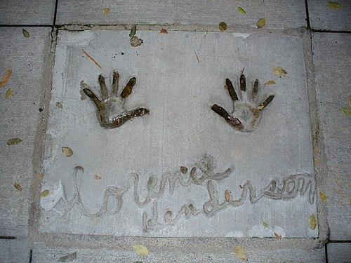 Henderson's handprints in front of Hollywood Hills Amphitheater at Walt Disney World's Disney's Hollywood Studios theme park Florence.JPG