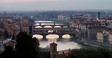 The bridges of Florence at sunset from Piazzale Michelangelo.