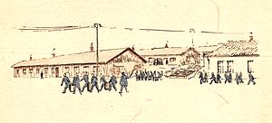"Flossenbürg concentration camp - ""Food transport (Essenträger)"" – drawing by Stefan Kryszak"