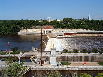 Minneapolis–Saint Paul - Lock and Dam No. 1, Mississippi River just upstream of the Minnesota River