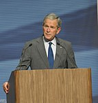 Former President George W. Bush speaks to an audience at the National Museum of the U.S. Air Force.jpg