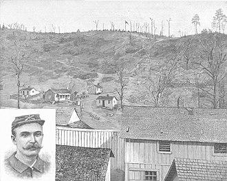 Coal Creek War - Drawing in Harper's Weekly showing Militia Hill as viewed from the Coal Creek stockade.